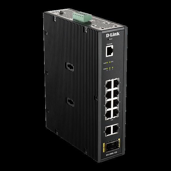 D-Link Ipari Switch 12 Port - 10x1000Mbs + 2xSFP + 1xRJ45 Console Port - DIS-200G-12S Smart Managed RM L2 Fanless