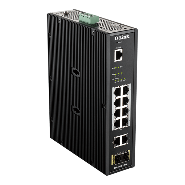 D-Link Ipari Switch 12 Port - 8x1000Mbs PoE + 2x1000Mbs + 2xSFP + 1xRJ45 Console Port - DIS-200G-12PS