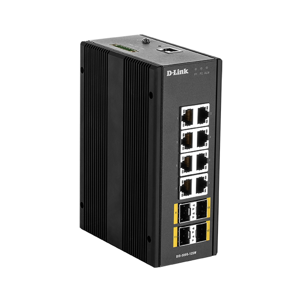 D-Link Ipari Switch 12 Port - 8x1000Mbs + 4x1000Mbs SFP - DIS-300G-12SW Smart Managed RM L2 WM Fanless