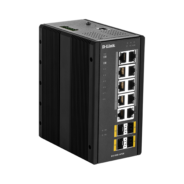 D-Link Ipari Switch 14 Port - 8x1000Mbs PoE + 2x1000Mbs + 4x1000Mbs SFP - DIS-300G-14PSW 240W PoE