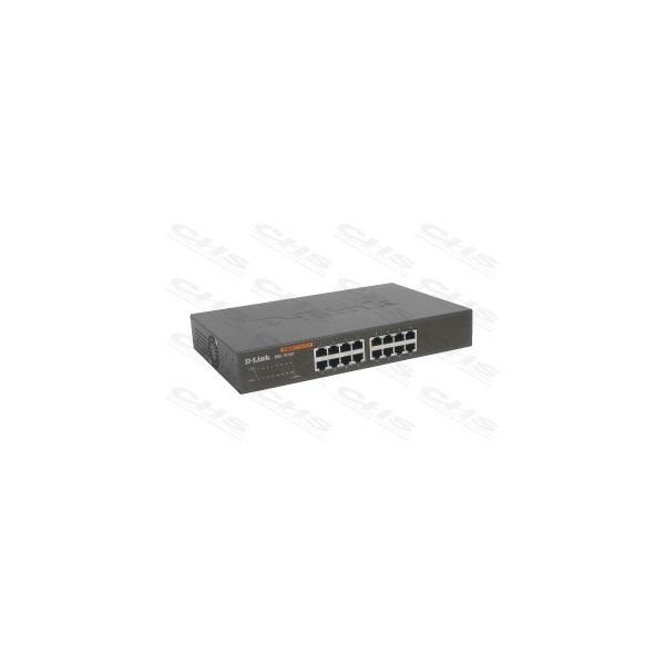 D-Link Switch - DGS-1016D - 16x1000Mbps Desktop Fémházas Fanless Unmanaged