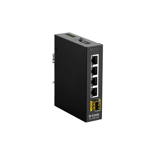 D-Link Ipari Switch 5 Port Unmanaged, 4 x 10/100/1000BaseT(X) ports & 1 x 100/1000BaseSFP ports