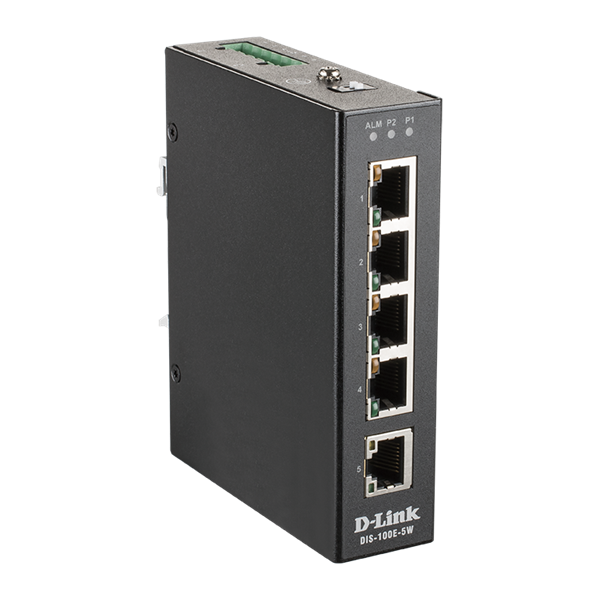 D-Link Ipari Switch 5 Port Unmanaged, 5 x 10/100 BaseT(X) ports