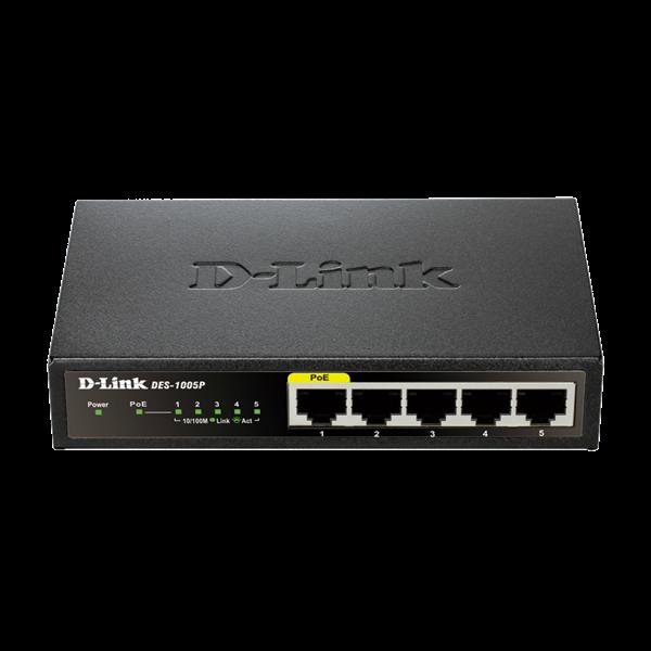 D-Link Switch - DES-1005P -  5x100Mbps 4 Port POE 60W POE Budget Desktop Fémházas Fanless Unmanaged