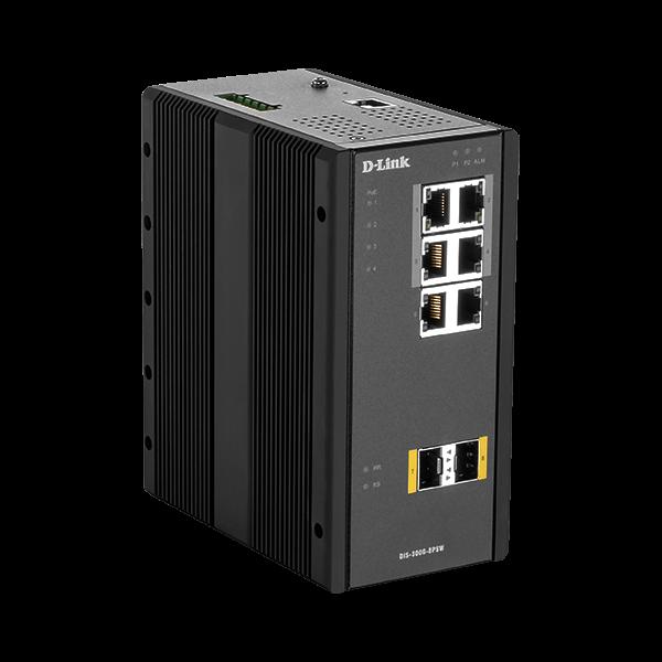 D-Link Ipari Switch 8 Port L2 Managed, 6 x 10/100/1000BaseT(X) ports (4 PoE), 2 x 100/1000BaseSFP ports