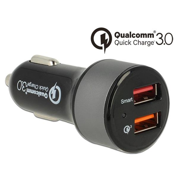 DELOCK USB autós töltő 2x Type-A Qualcomm Quick Charge 3.0