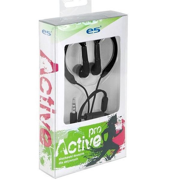E5 Pro Active fülhallgató, fekete