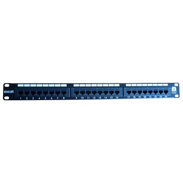 "Excel CAT6 patch panel 24 portos 1U 19"" fekete"