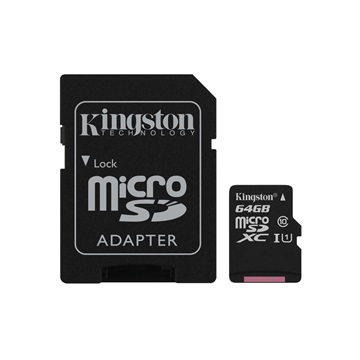 KINGSTON Memóriakártya MicroSDXC 64GB CL10 UHS-I Canvas Select (80/10) + Adapter