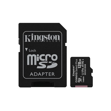 KINGSTON Memóriakártya MicroSDXC 128GB Canvas Select Plus 100R A1 C10 + Adapter