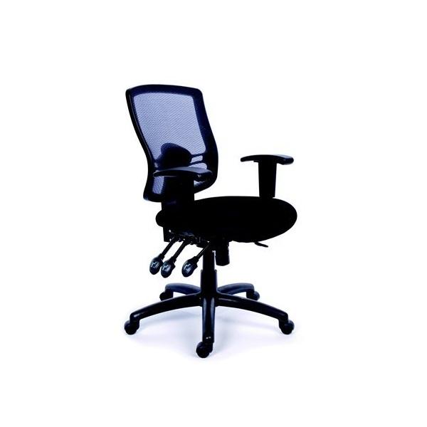 MAYAH Irodai szék, állítható karfás, fekete szövetborítás, hálós háttámla, fekete lábkereszt,