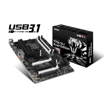 MSI Alaplap AM3+ 970A SLI Krait Edition AMD 970A FSB5200, ATX