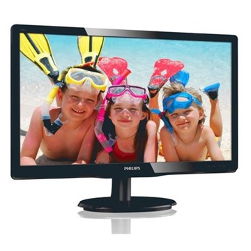 "Philips MVA Monitor 19,5"", 200V4QSBR/00 1920x1080, 16:9, 10.000.000:1, 250 cd/m2, 8ms, VGA/DVI-D, fekete"