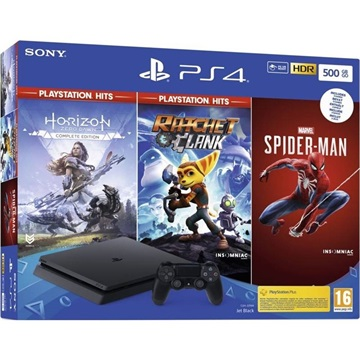 SONY PS4 Konzol 500GB Slim + Marvels Spider Man + Horizon Zero Dawn + Ratchet & Clank