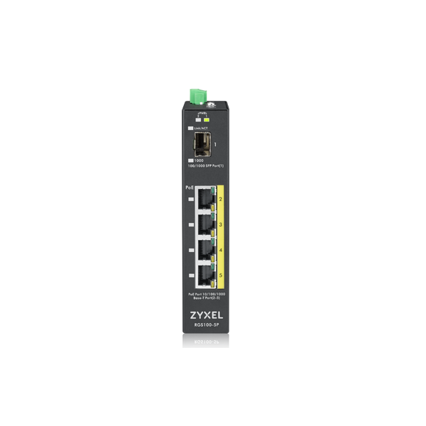 ZYXEL Switch - RGS100-12P, 5  Port unmanaged PoE, 120 Watt PoE, DIN Rail, IP30, 12-58V DC