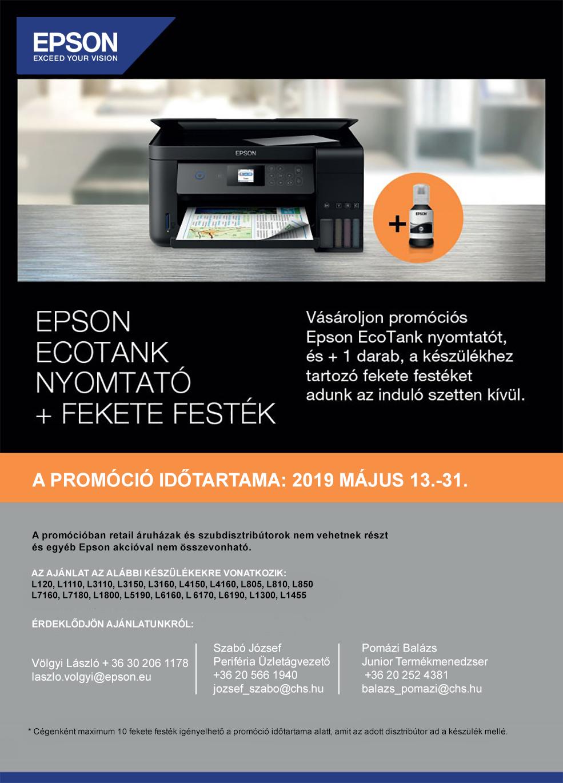 e4533ad249 Vásároljon promóciós Epson EcoTank nyomtatót, és +1 darab, a készülékhez  tartozó fekete festéket adunk!